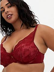 Dark Red Lace XO Push-Up Plunge Bra, , fitModel1-hires