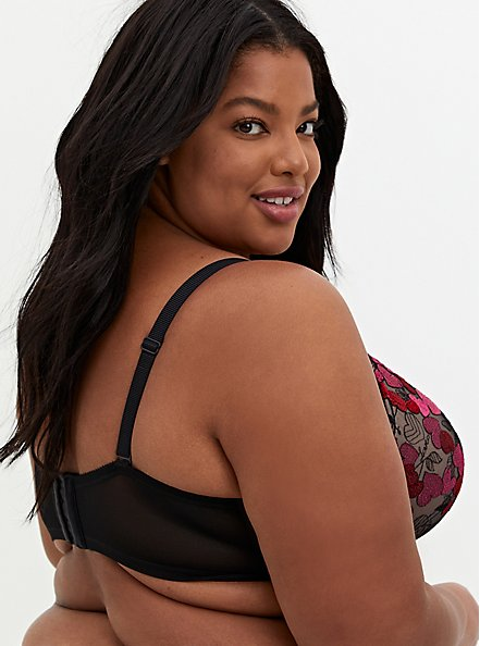 Black Mesh & Red Cherry Heart Embroidered Push-Up Plunge Bra, MULTI COLOR, alternate