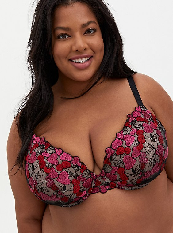 Black Mesh & Red Cherry Heart Embroidered Push-Up Plunge Bra, , hi-res