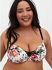 White Floral 360° Back Smoothing™ XO Push-Up Plunge Bra, , fitModel1-hires