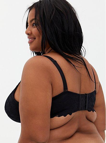 Black Lace XO Push-Up Plunge Bra, RICH BLACK, alternate