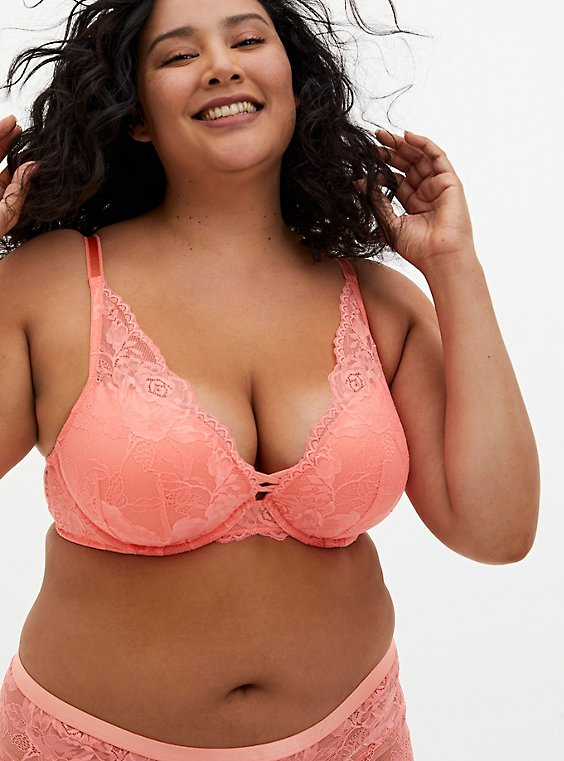 Dusty Coral Lace XO Push-Up Plunge Bra, DESERT FLOWER KH, hi-res