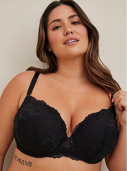 Black Lace 360° Back Smoothing™ Push-Up T-Shirt Bra, RICH BLACK, hi-res