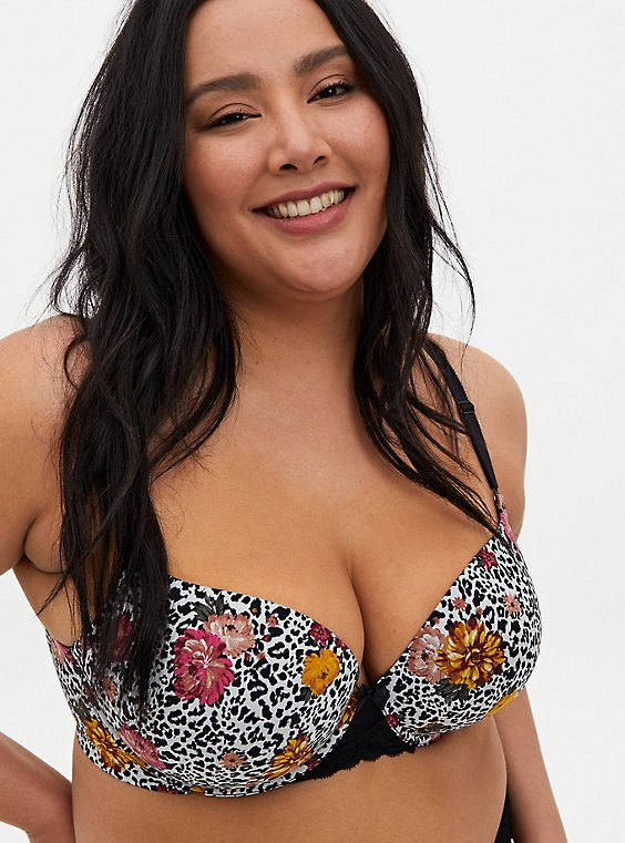 White Leopard Floral Lace 360° Back Smoothing™ Push-Up T-Shirt Bra, WILD THINGS FLORAL, hi-res