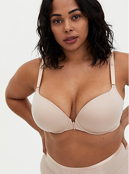 Beige Front Closure Microfiber Lightly Lined T-Shirt Bra, ROSE DUST, hi-res