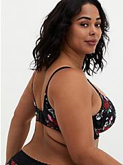 Plus Size Black Floral 360° Back Smoothing™ Lightly Lined T-Shirt Bra, OCTOPUS GARDEN, alternate