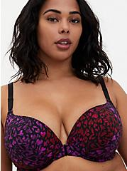 Black & Multi Heart Front Clasp 360° Back Smoothing™ Lightly Lined T-Shirt Bra , HEART SWIRLS MULTI, hi-res