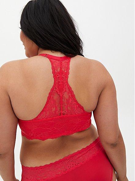 Plus Size Raspberry Pink Lace Lightly Lined Racerback T-Shirt Bra, TEA BERRY, alternate