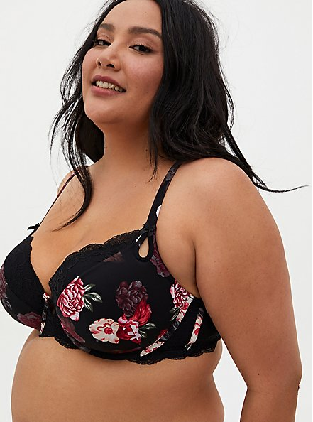 Plus Size Black Floral Lightly Lined T-Shirt Bra, MILLENIAL FLORAL, hi-res