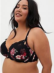 Black Floral Lightly Lined T-Shirt Bra, , fitModel1-hires