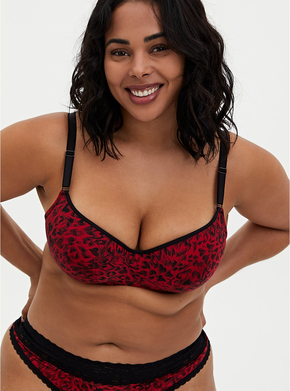 Red Heart 360° Back Smoothing™ Lightly Lined Full Coverage Balconette Bra , HEART SWIRL JESTER RED, hi-res