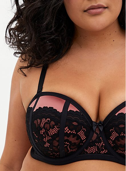 Rose Pink Microfiber & Lace Strappy Push-Up Strapless Bra, WITHERED ROSE PINK, alternate