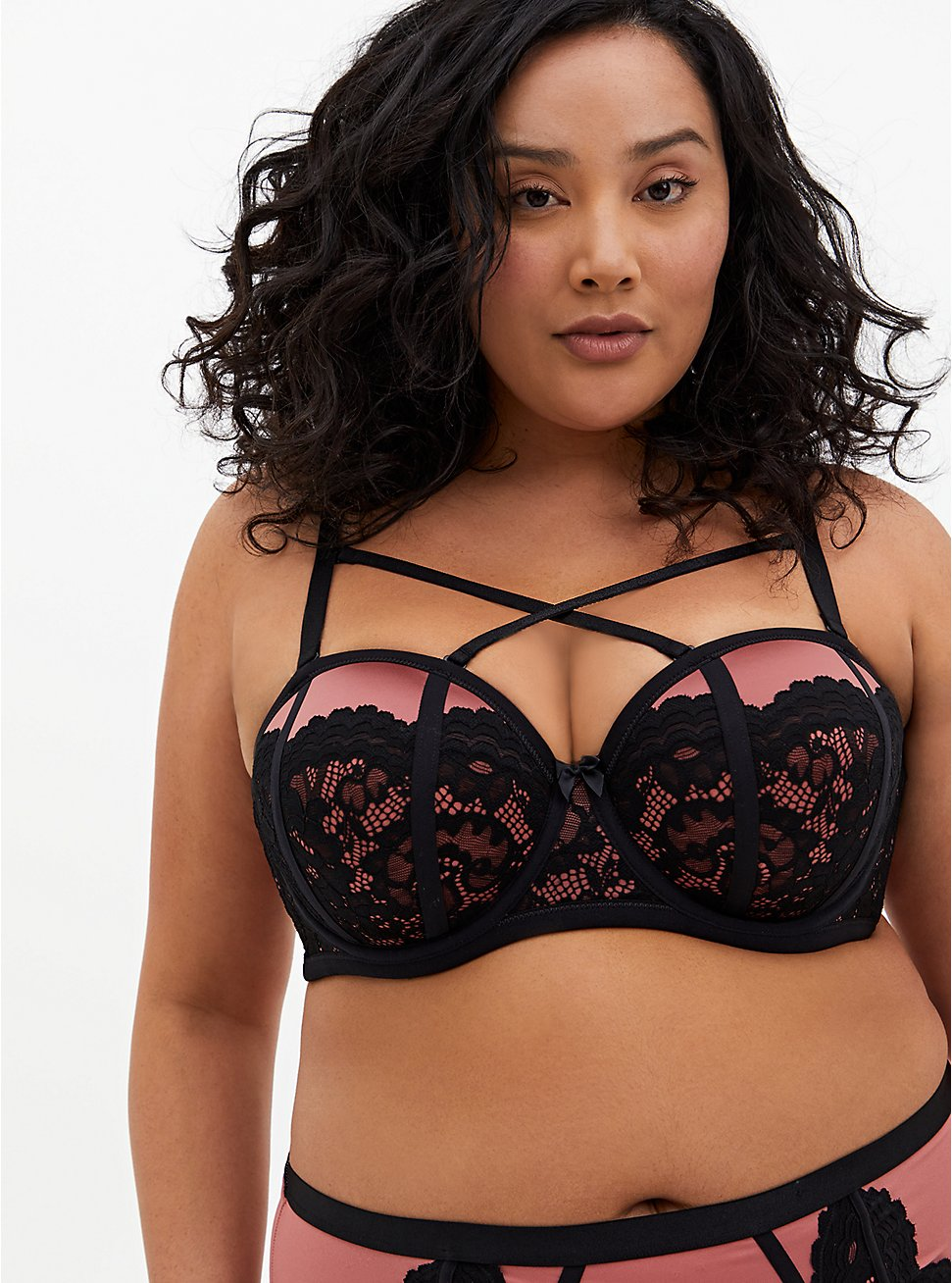Rose Pink Microfiber & Lace Strappy Push-Up Strapless Bra, WITHERED ROSE PINK, hi-res