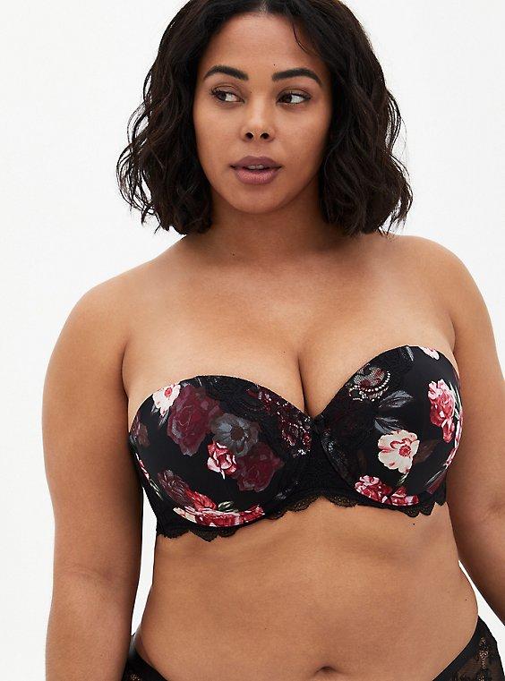 Plus Size Black Floral Microfiber & Lace Push-Up Strapless Bra, MILLENIAL FLORAL, hi-res