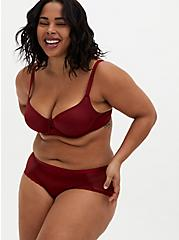 Plus Size Dark Red Glossy Unlined Demi Bra , BIKING RED, alternate