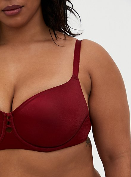 Dark Red Glossy Unlined Demi Bra , BIKING RED, alternate