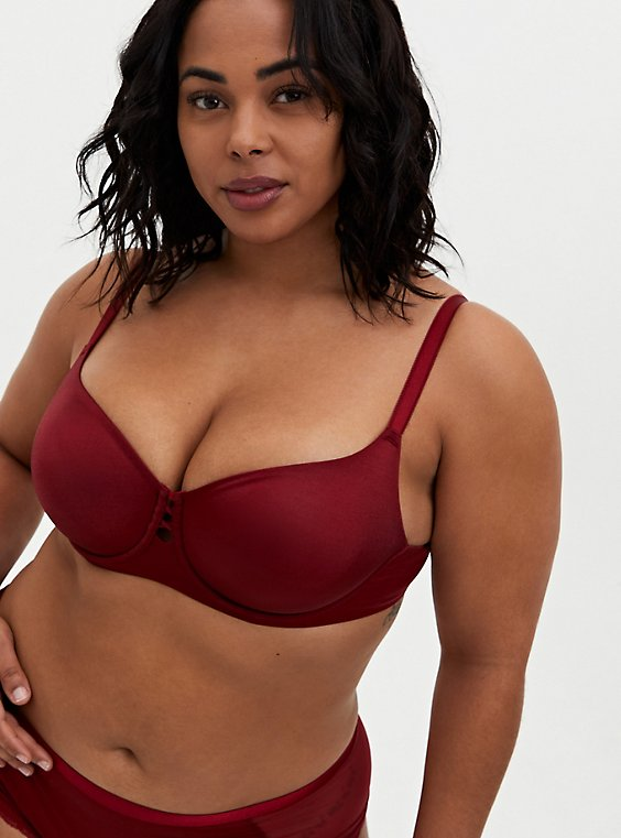Plus Size Dark Red Glossy Unlined Demi Bra , BIKING RED, hi-res