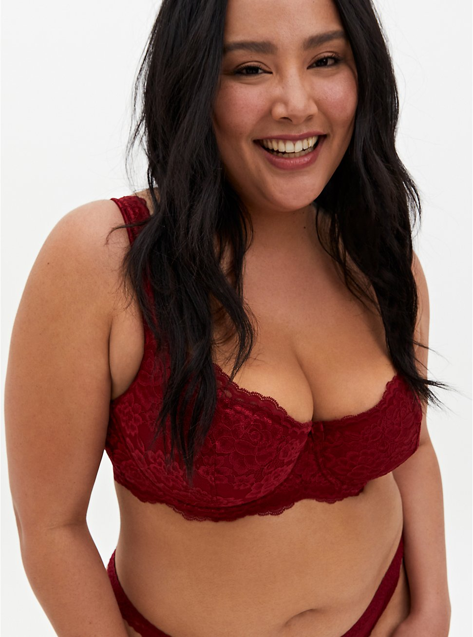 Red Lightly Lined Lace Balconette Bra, BIKING RED, hi-res