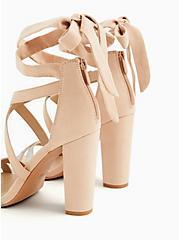 Beige Faux Suede Rhinestone Ankle Wrap Tapered Heel (WW), NUDE, alternate