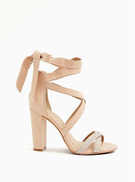 Beige Faux Suede Rhinestone Ankle Wrap Tapered Heel (WW), NUDE, hi-res