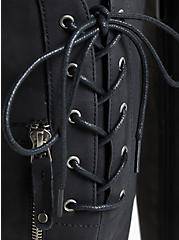 Black Faux Leather Lace-Up Back Knee-High Boot (WW), BLACK, alternate