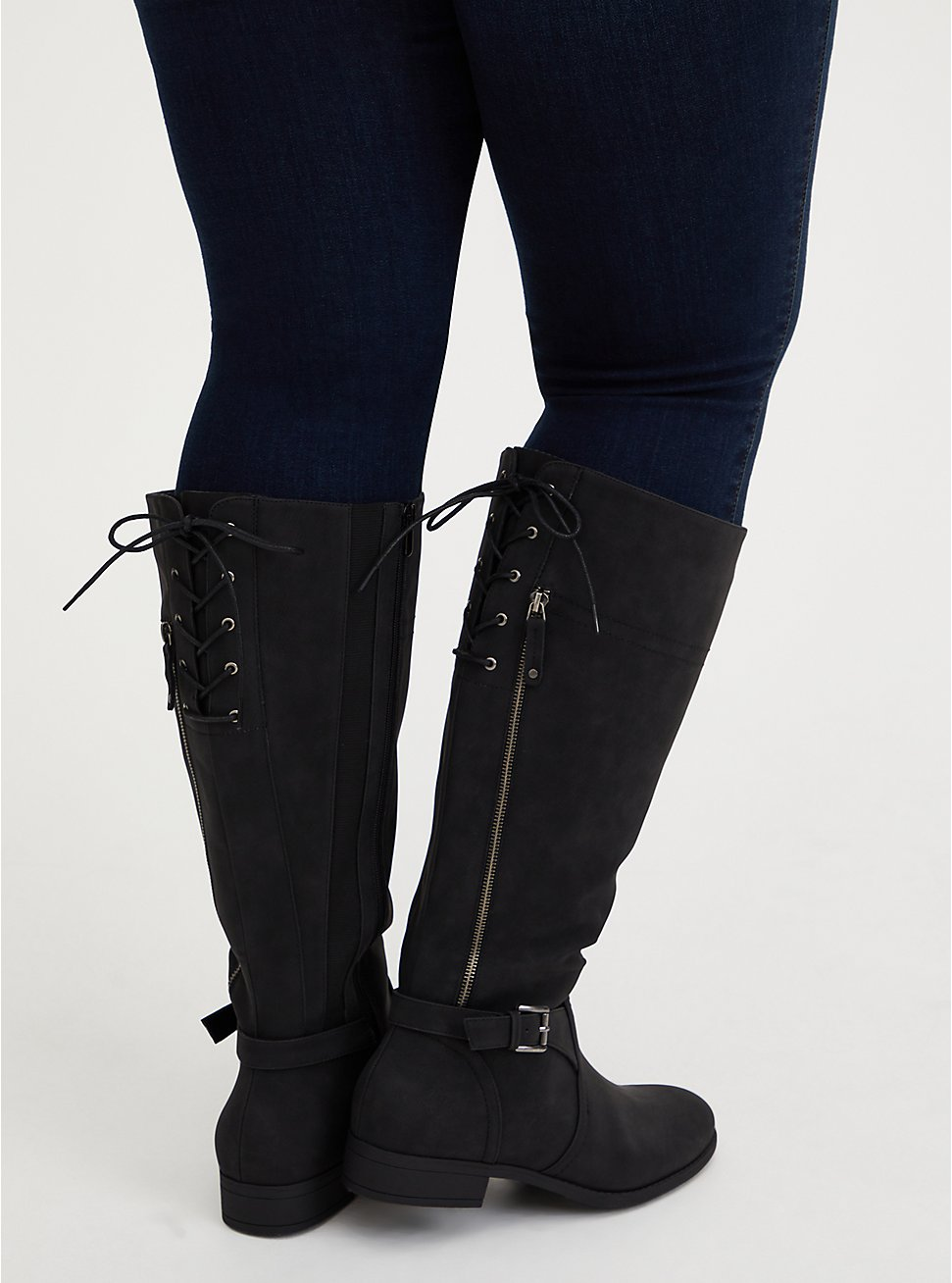 Black Faux Leather Lace-Up Back Knee-High Boot (WW), BLACK, hi-res
