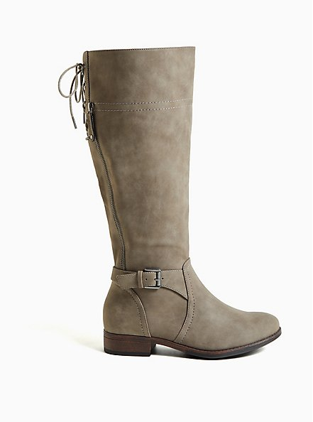Taupe Faux Leather Lace-Up Back Knee-High Boot (WW), TAN/BEIGE, alternate