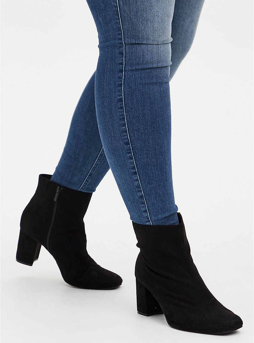 Black Faux Suede Square Toe Bootie (WW), BLACK, hi-res