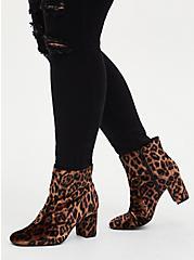 Leopard Faux Suede Square Toe Bootie (WW), ANIMAL, alternate