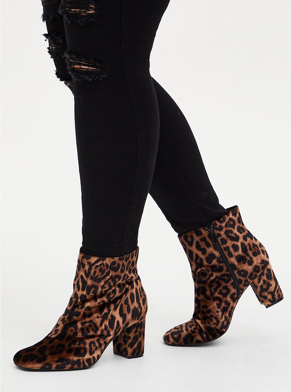 Leopard Velvet Square Toe Bootie (WW), ANIMAL, hi-res