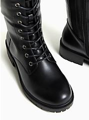 Black Faux Leather Lace-Up Knee-High Combat Boot (WW), BLACK, alternate