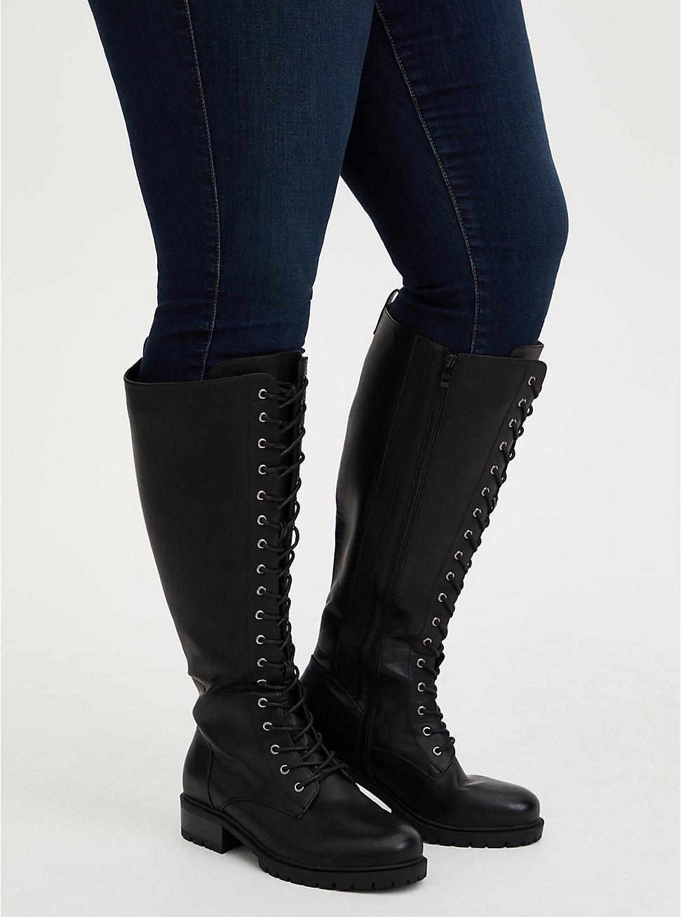 Black Faux Leather Lace-Up Knee-High Combat Boot (WW), BLACK, hi-res
