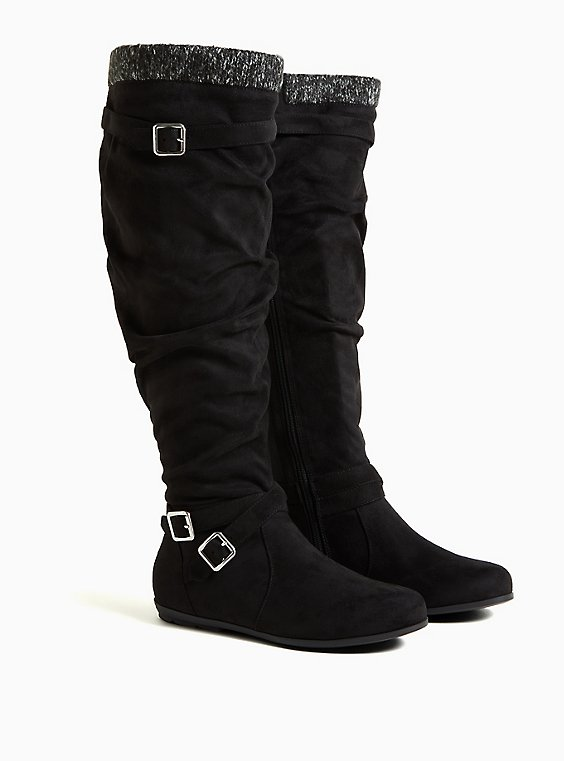 Black Faux Suede Sweater-Trimmed Over-The-Knee Boot (WW), BLACK, ls