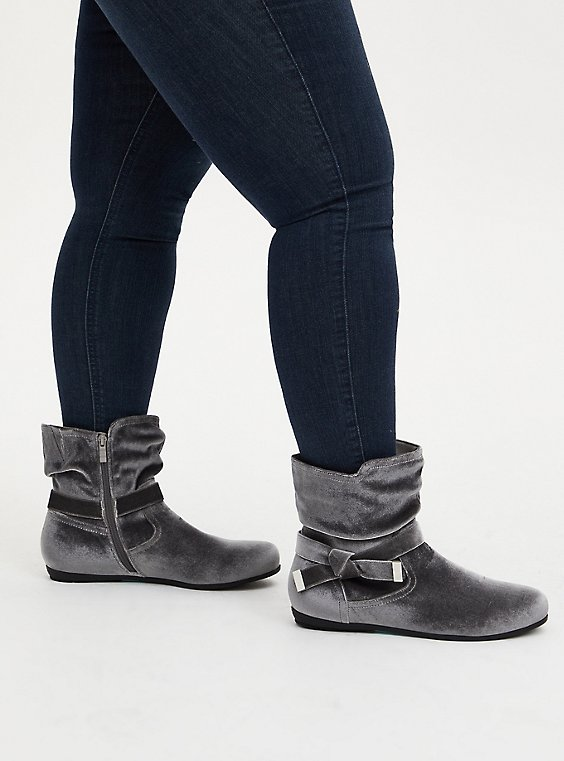 Plus Size Grey Velvet Side Knot Bootie (WW), GREY, hi-res
