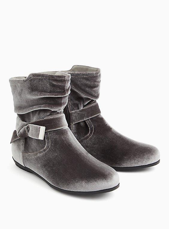 Grey Velvet Side Knot Bootie (WW), GREY, ls