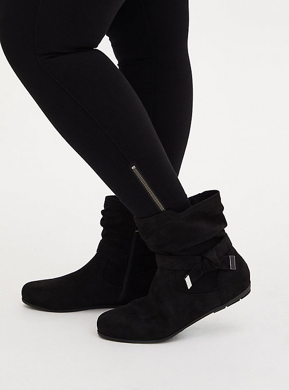 Black Faux Suede Side Knot Bootie (WW), BLACK, hi-res