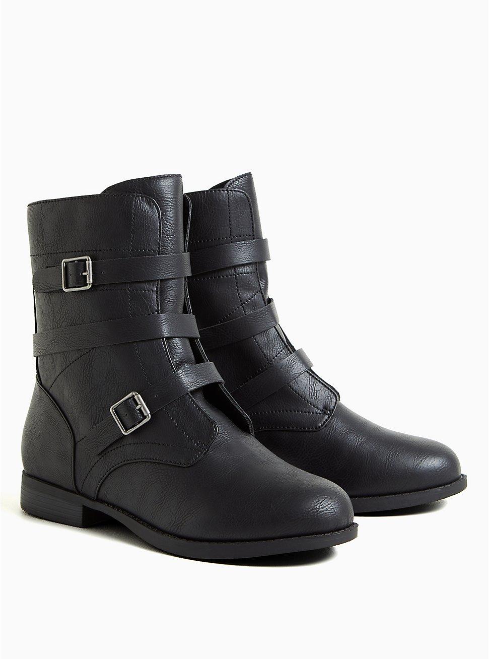 Plus Size Black Faux Leather Strappy Combat Boot (WW), BLACK, hi-res
