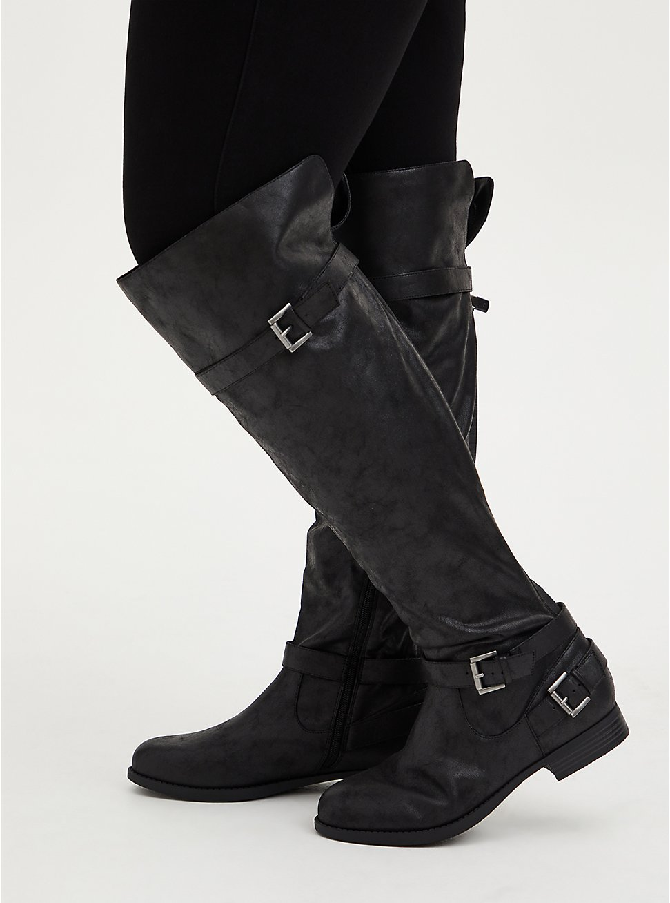 Black Oiled Faux Suede Over-The-Knee Boot (WW), BLACK, hi-res