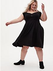 Black Off Shoulder Sweetheart Skater Dress, DEEP BLACK, alternate