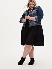 Plus Size Black Off Shoulder Sweetheart Skater Dress, DEEP BLACK, hi-res