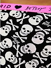 Betsey Johnson Logo Black Skull Cotton Cheeky Panty , BETSEY SKULL-BLACK, alternate