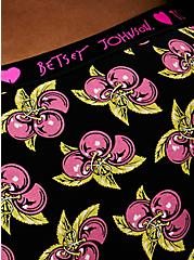 Betsey Johnson Logo Black Cheery Cotton Cheeky Panty , CHERRY PIE-BLACK, alternate