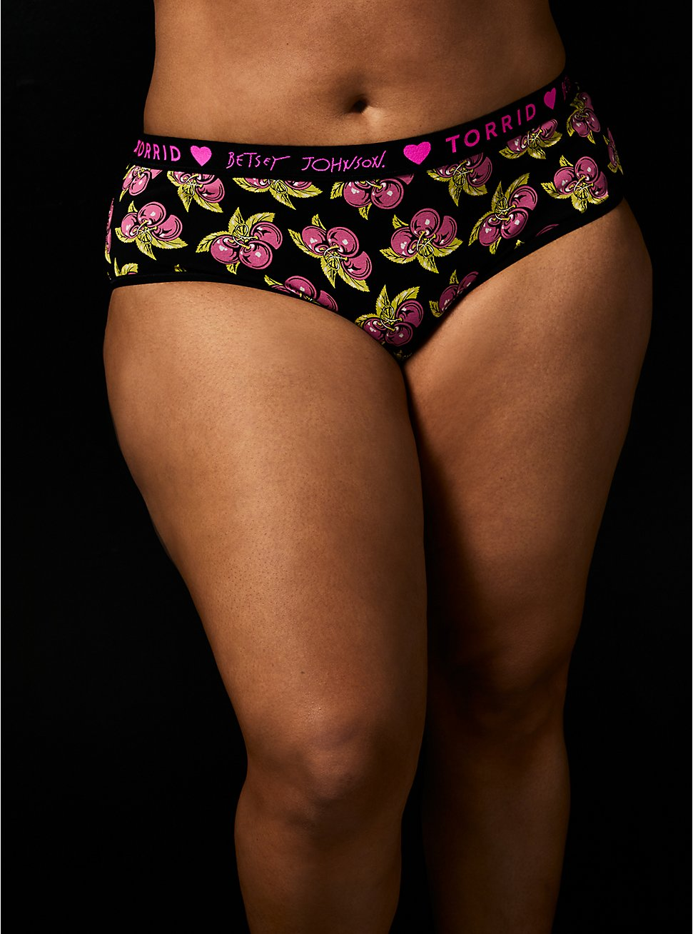 Betsey Johnson Logo Black Cheery Cotton Cheeky Panty , CHERRY PIE-BLACK, hi-res