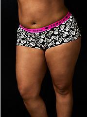 Betsey Johnson Logo Black Skull Cotton Boyshort Panty , BETSEY SKULL-BLACK, alternate