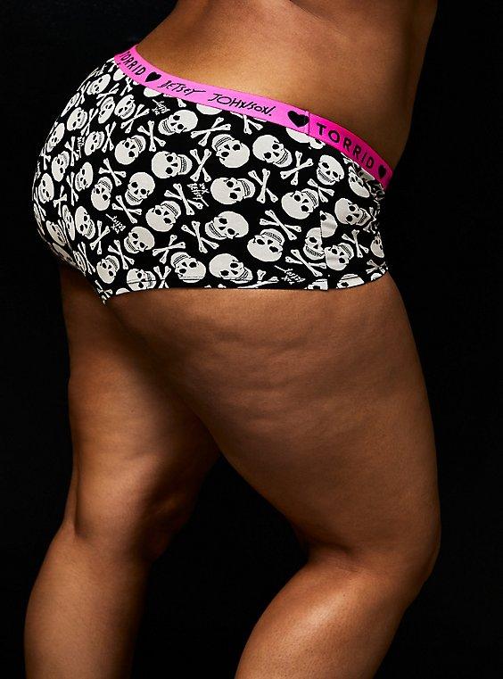 Betsey Johnson Logo Black Skull Cotton Boyshort Panty , , hi-res