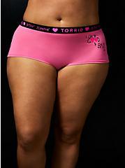 Betsey Johnson Logo Pink Good & Bad Cotton Boyshort Panty , GOOD AND BAD OPTIONS-PINK, alternate