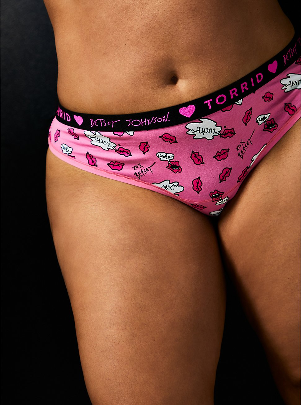 Betsey Johnson Logo Pink Lips Cotton Thong Panty , LIP SERVICE-PINK, hi-res
