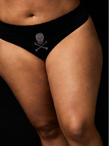 Betsey Johnson Skull Rhinestone Black Seamless Thong Panty , SPARKLE SKULL BLACK, hi-res