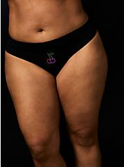Betsey Johnson Cherry Rhinestone Black Seamless Thong Panty , SPARKLE CHERRY BLACK, hi-res