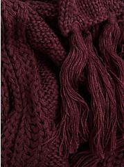 Burgundy Purple Cable Knit Oblong Scarf, , alternate